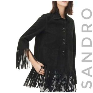 SANDRO Paris suede leather fringe black jacket